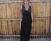 Vintage 1970s Lingerie / 70s Black Lace Nightgown