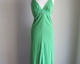 Sale / Vintage 1970s Halter Dress / Disco Green Maxi Dress