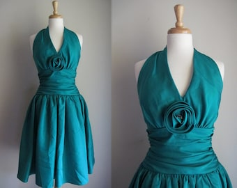 1980s Dress / 80s Party Dress / Emerald Green Prom Dress