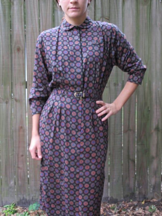 1980s Secretary Dress / 80s Wiggle Dress / Peter Pan Collar Shirtwaist Dress