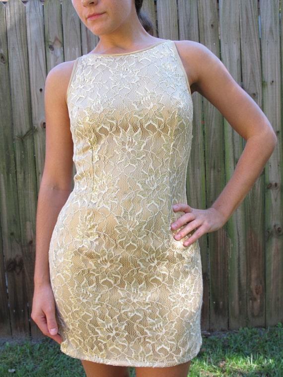 Vintage Gunne Sax Dress / 80s 90s Gold Lace Mini Dress