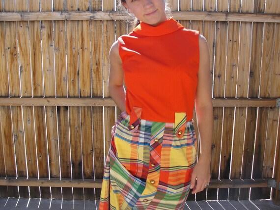 1960s Maxi Dress / 60s Mod Plaid Dress