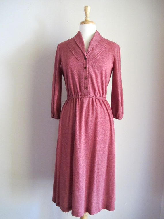 70s Secretary Dress / 1970s Day Dress / Rose Dress