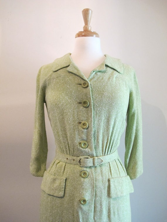 Sale / 1950s Wiggle Dress / Vintage 50s 60s Dress / Mint Green Dress