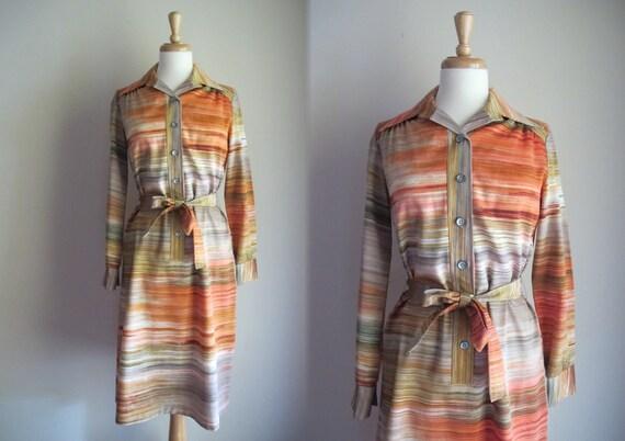 70s Day Dress / Vintage Woodgrain Print Dress / 1970s Shirt Dress