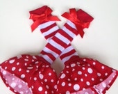"""Baby/Toddler Leg Warmers   """"RED & WHITE Stripes"""" - Size 0 - 6 years.-  . And Over 50 Doll Sleeping Bags in my store"""