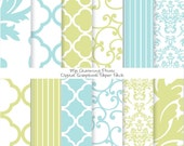 "French Blue and Green - Damask Floral Digital Paper Pack (8 1/2 x 11""-300 dpi) - 12 Digital papers"