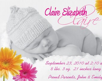 Photo - Birth Announcement - Baby Girl Pink/Yellow Daisy - Your Baby....My Design....Your Printer