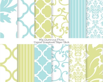 """French Blue and Green - Damask Floral Digital Paper Pack - 12""""x12"""" - 300 dpi - 12 Digital papers"""