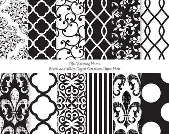 """Black and White - Digital Paper Pack  - 12""""x12"""" - 300 dpi - 12 Digital papers"""