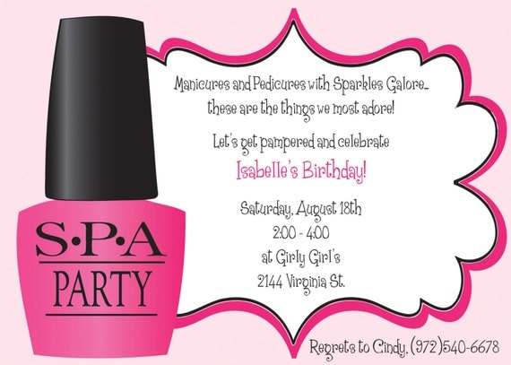 Ooh La La Spa Party Girls Birthday Invitation INCLUDES – Spa Party Invitation Wording