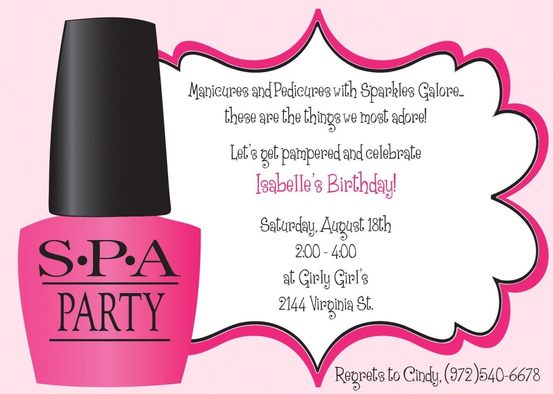 Ooh La La Spa Party Girls Birthday Invitation Includes
