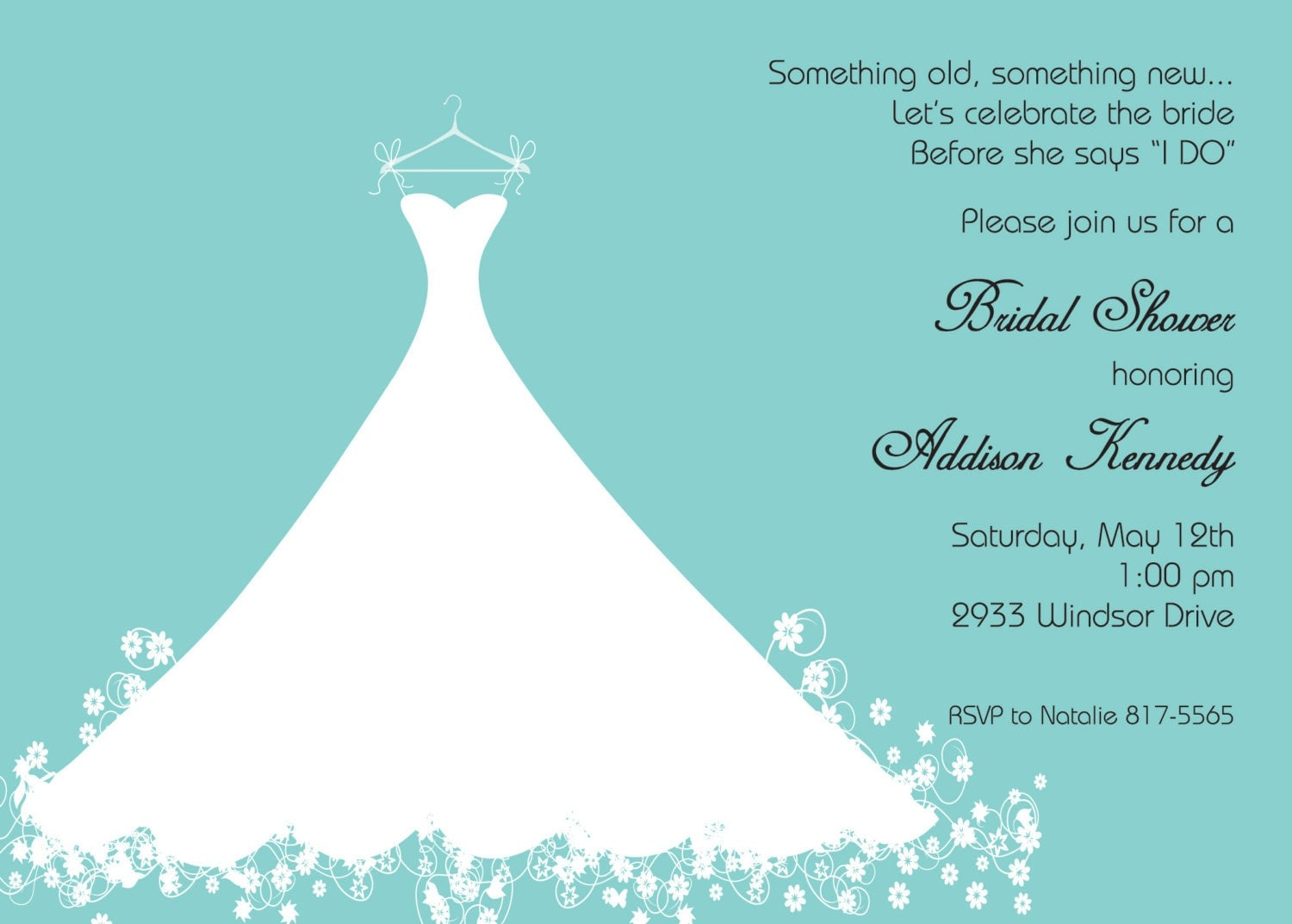 wedding shower invitation template bridal shower invitation aqua blue wedding gown printed 1153
