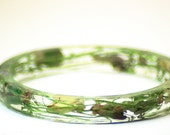 Garden Party-Flower Bracelet- Unique Handmade Jewelry- Real Dried Flowers and Grasses Bracelet- Green Bangle