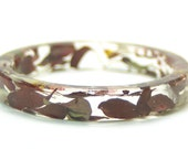 Flower Bangle- Flower Bracelet- Red Wine- Red Jewelry- Red Bracelet- Green Bracelet-Green Jewelry- Resin Jewelry- Leaves- Flower Jewelry