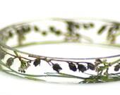 Green Medley-  Green Bracelet- Brown Bracelet- Resin Jewelry- Flower Jewelry- Real Dried Flowers