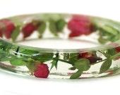 Flower Jewelry- Jewelry Made with Real Flowers- Pink Bracelet- Green Bracelet- Dried Flower Jewelry- Flower Resin Jewelry