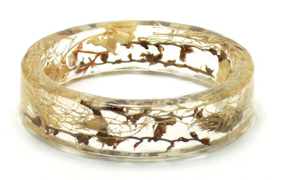 Bangle Bracelet Brown, Tan, Cream and Beige Dried Flowers and Foliage in Crystal Clear Shiny Resin