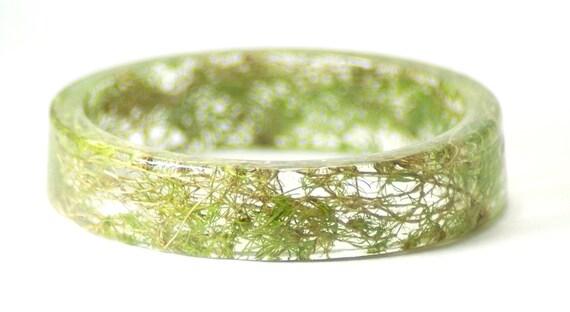 Green Bracelet- Moss Bracelet- Flower Jewelry- Resin Jewelry- Flower Bangle- Flower Bracelet