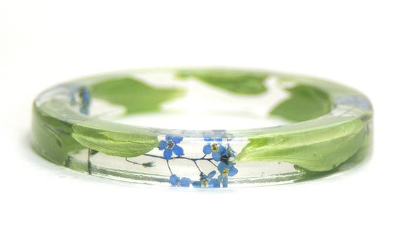 Flower Bracelet- Flower Jewelry- Blue Bracelet- Green Bracelet-Resin Bangle- Jewelry made with Real Flowers-Forget me not Flowers