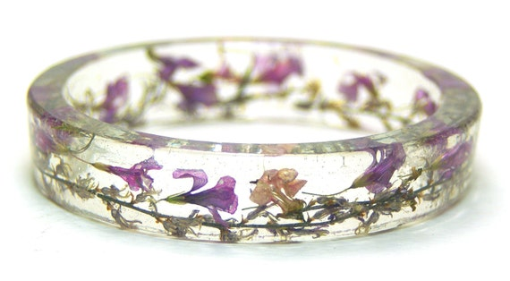 Pink Flower Bracelet- Flower Jewelry- Flower Bracelet Pink Flowers- Purple Bracelet-Pink Jewelry- -Resin Jewelry- Real Dried Flowers