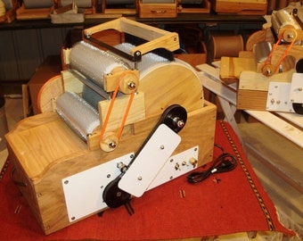 Jumbo Triple Drum Carder Electric with Brush, 90/'90/120 tpi