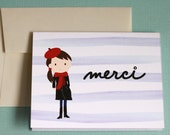 Set of 4 Parisian Girl Merci Thank You Cards