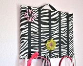 MEDIUM Zebra Hair Bow Holder Accessory Board Organizer With Hooks for Headbands