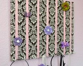 LARGE Brown and Pink Damask Hair Bow Holder Accessory Board Organizer With Hooks for Headbands