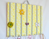 LARGE Yellow and Gray Hair Bow Holder Accessory Frame Organizer With Hooks for Headbands