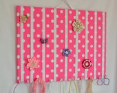 EXTRA LARGE Rose Pink White Polka Dots Hair Bow Holder Accessory Wall Organizer With Hooks for Headbands