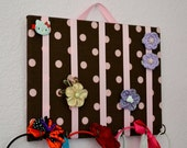 SMALL Brown and Pink Polka Dot Hair Bow Holder Accessory Board Organizer With Hooks for Headbands