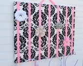 LARGE Black White Pink Damask Hair Bow Holder Accessory Board Organizer With Hooks for Headbands
