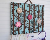 LARGE French Blue Damask Hair Bow Holder Accessory Organizer With Hooks for Headbands