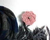 Spiral Brooch in rose pink cotton with silver bead