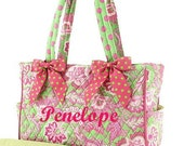 Diaper Bag Personalized Quilted 2pc Floral Paisley