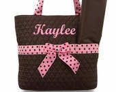 Personalized Diaper Bag Quilted Brown Pink Set