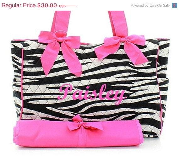 SALE Diaper Bag Personalized Zebra Black Fuchsia Quilted 2 pc