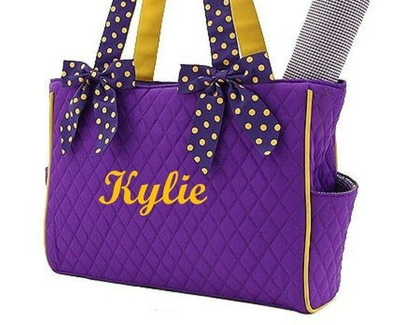 Diaper Bag Personalized Quilted 2pc Purple Gold
