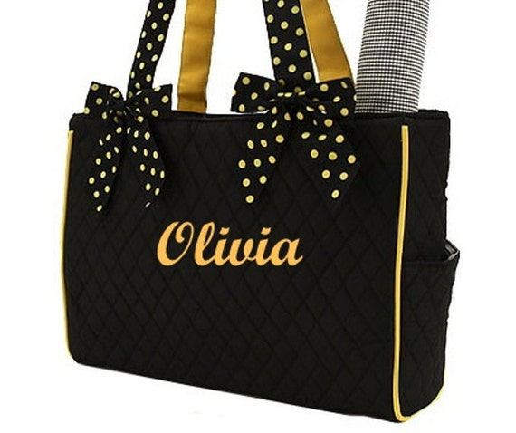 Diaper Bag Personalized Black Gold  Quilted Set