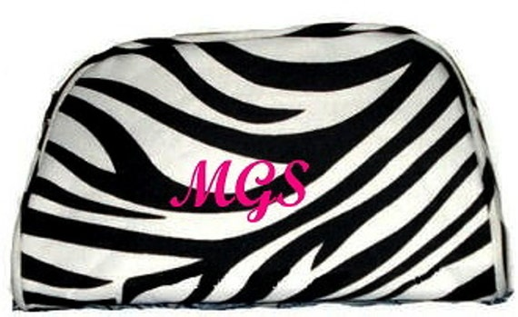Personalized Zebra Cosmetic Bag Monogrammed