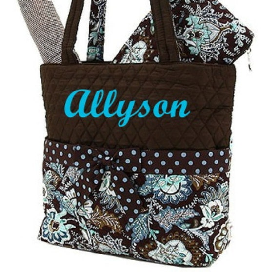 Personalized Diaper Bag Quilted Blue Brown Paisley
