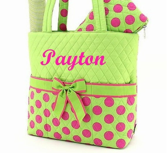 Personalized Diaper Bag Quilted Lime Green Hot Pink Dots