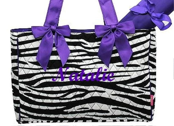 Personalized Diaper Bag Quilted ZEBRA Black Purple