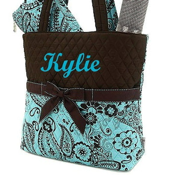Personalized Diaper Bag Quilted Brown Turquoise Paisley Set