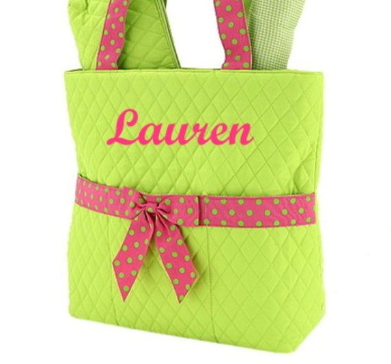 Personalized Diaper Bag Quilted 3pc Lime Fuchsia