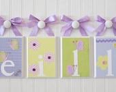 Name Blocks . Nursery Name Blocks . Nursery Decor .  Hanging Wood Name Blocks . Lavender . Pink . Green . Flowers . Butterflies