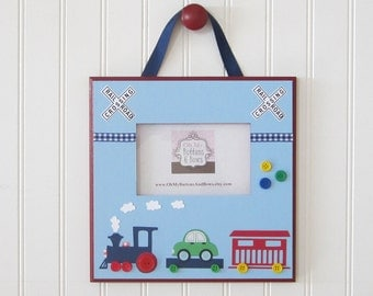 Picture Frames . Hanging Standing Frames . Custom Picture Frames .  Photo Frame . Nursery Frame . Name Blocks . Train Theme