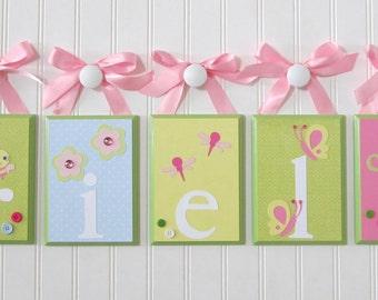Name Blocks . Nursery Name Blocks . Nursery Decor . Baby Name Blocks . Hanging Wood Name Blocks . Flowers Birds Butterflies . Arielle