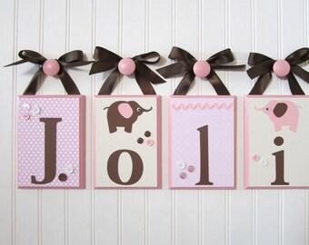 Name Blocks . Nursery Name Blocks . Nursery Room Decor . Baby Name Blocks . Hanging Wood Name Blocks . Pink Brown Elephant . Joli